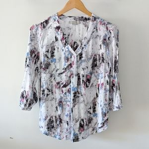 Ladies Multicolored Rayon V-Neck Pullover Blouse